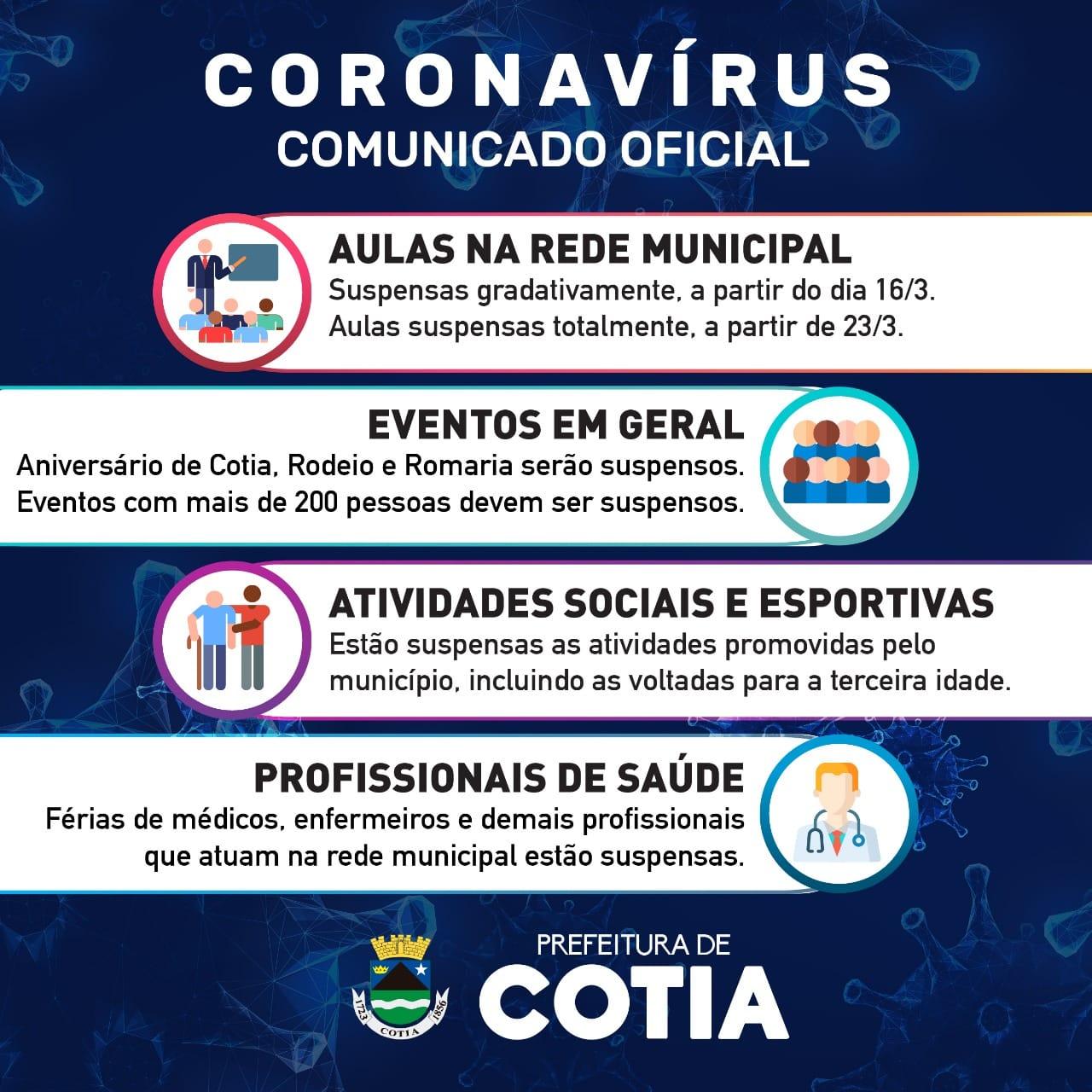 Covid-19: Prefeitura informa o cancelamento de diversos eventos